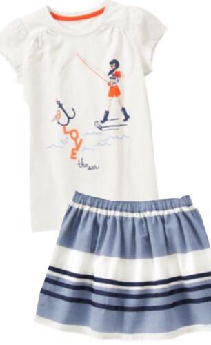 Gymboree Cute on the Coast 5 7 8 10 Nautical Girl top Striped Skirt Set Blue 15
