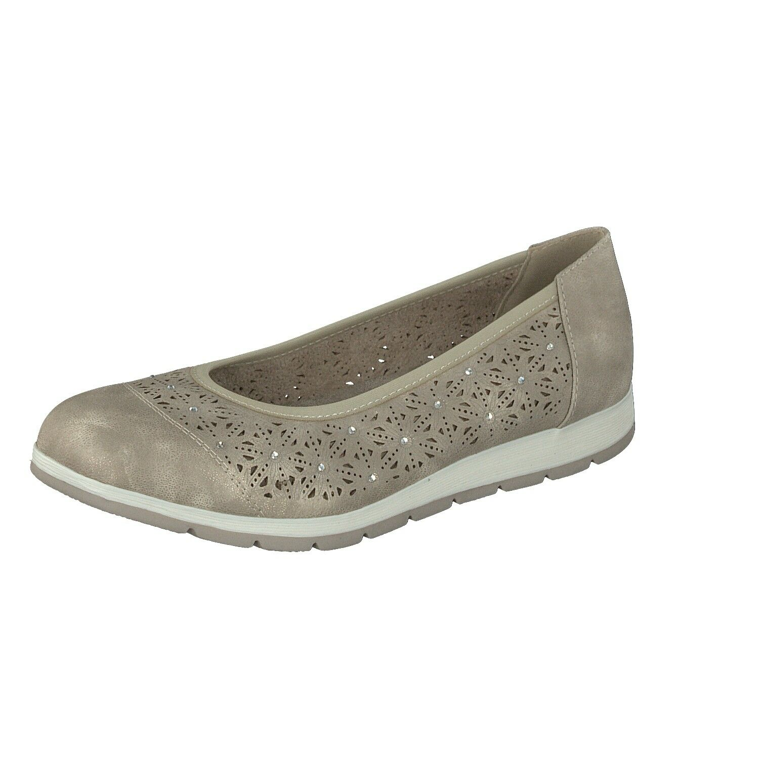 RELIFE Ladies shoes Leisure Ballerina Slippers 8717-18705-01 Beige with Glitter