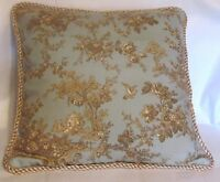 Provence French Country Cottage Toile Beige And Blue Pillow Paris Farm Shabby