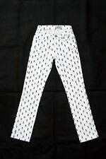 JECKERSON donna Dritto Aderente Bianco JEANS in denim Graphic pantaloni W25 UK8