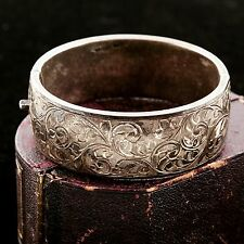 Antique Vintage Art Nouveau Sterling Silver English Chased Bangle Bracelet!
