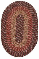 Robin Rugs Plymouth Warm Nylon Durable Braided Rug Country Braid Black Red Gold