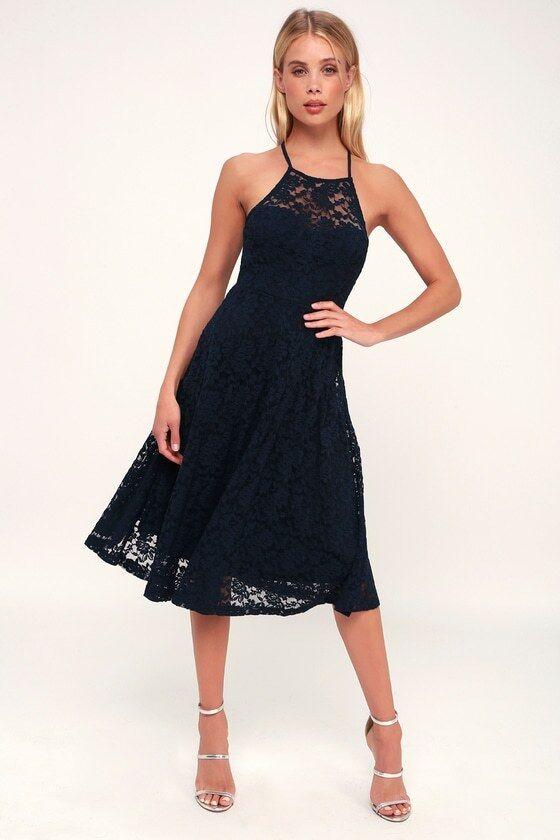 Stunner Lady My Kingdom Navy Lace Midi Dress - XS