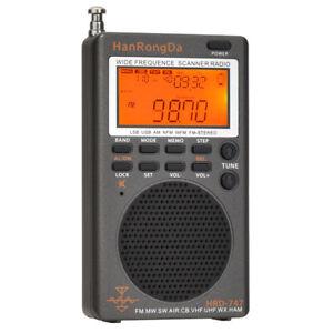 NUOVO-UK STOCK HRD747 Ricevitore Portatile UHF VHF SW AIRBAND Marine MW FM