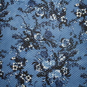 SALE-Diamond-Quilted-Denim-Floral-Print-Cloque-Jersey-Dress-Fabric-Material