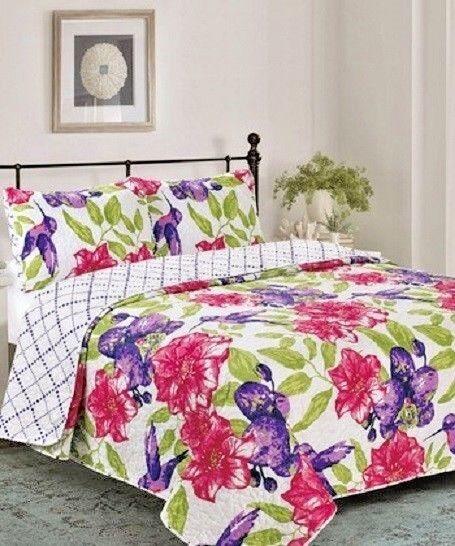 Glory Home Designs 3 Piece QUEEN Reversible Quilt & Shams Purple Elisa