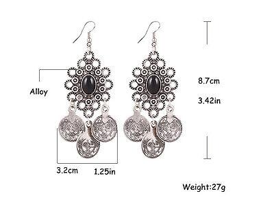 Gypsy Bohemian Style Silver Coin Hippie Boho Tribal Dangle Hook Earrings Jewelry