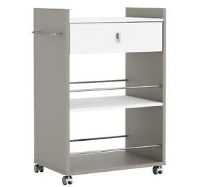 Küchenwagen BASALT mit WEISS Küchentrolley Schublade Küchenschrank ...