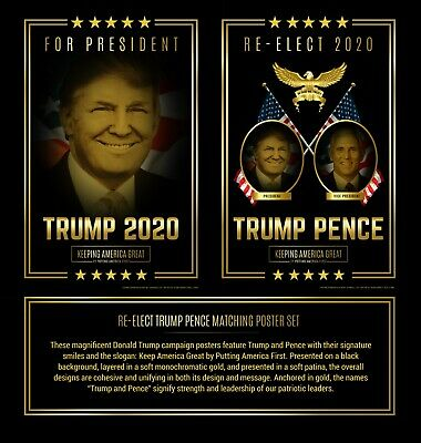 Donald Trump and Mike Pence Campaign Poster Set 2020