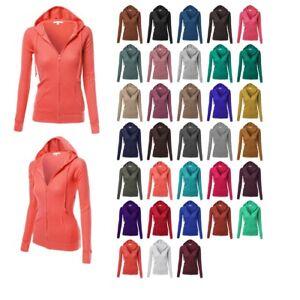Xpril Womens Basic Slim Fit Cotton Lightweight Zipper Hooded Jackets