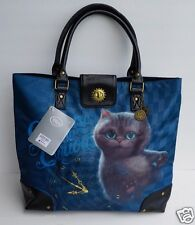 NWT Disney Store Alice in Wonderland Cheshire Cat Alice Tote Bag Purse Bag Charm
