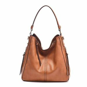 Women Tote Shoulder Hobo Bag Handbag Leather Bags Crossbody Fashion Handbags Camel