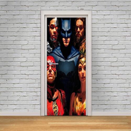 La Liga De La Justicia Super Heroes 3D puerta Wrap Calcomanía Pared Adhesivo Mural artístico Flash D260