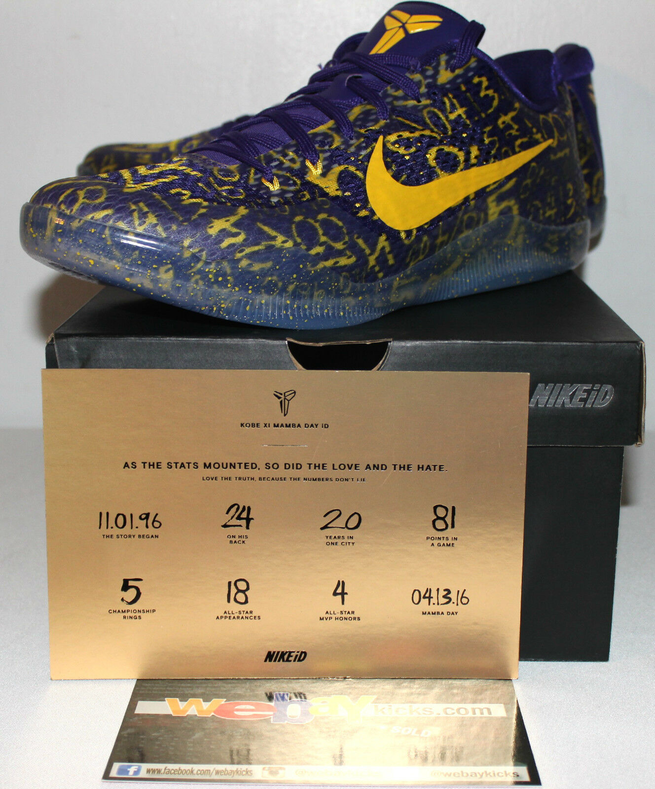 Nike Air Kobe 11 XI Black Yellow Mamba Days FTB Purple Yellow Black Sneakers Mens Size 13 New 08bda4