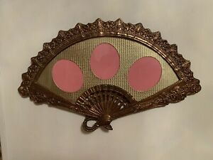 Vintage-Victorian-Brass-Fan-Shaped-Picture-Frame-3-Photo-Holder-Ornate-3-5x3-Inc