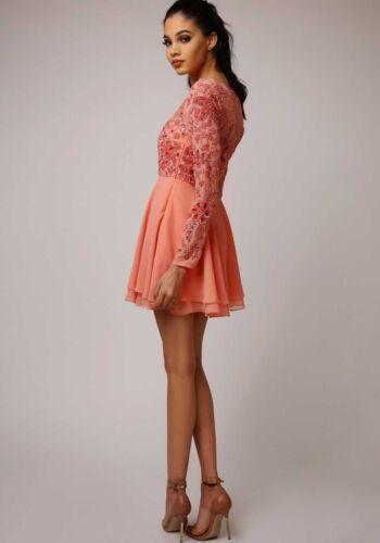 Virgos Ria Verziert und Rose Skater Mini Partykleid 6 Fit flare Lounge 16 Bis r84BxqrAw