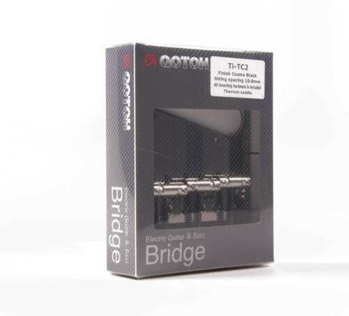 Cosmo Black Gotoh MIJ TC2 4-hole Tele Bridge with Titanium vintage saddles