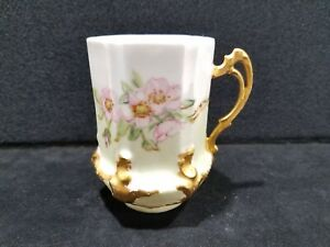 Antique-Bawo-amp-Dotter-Limoges-Elite-Works-Porcelain-Floral-Gold-Trim-Coffee-Cup