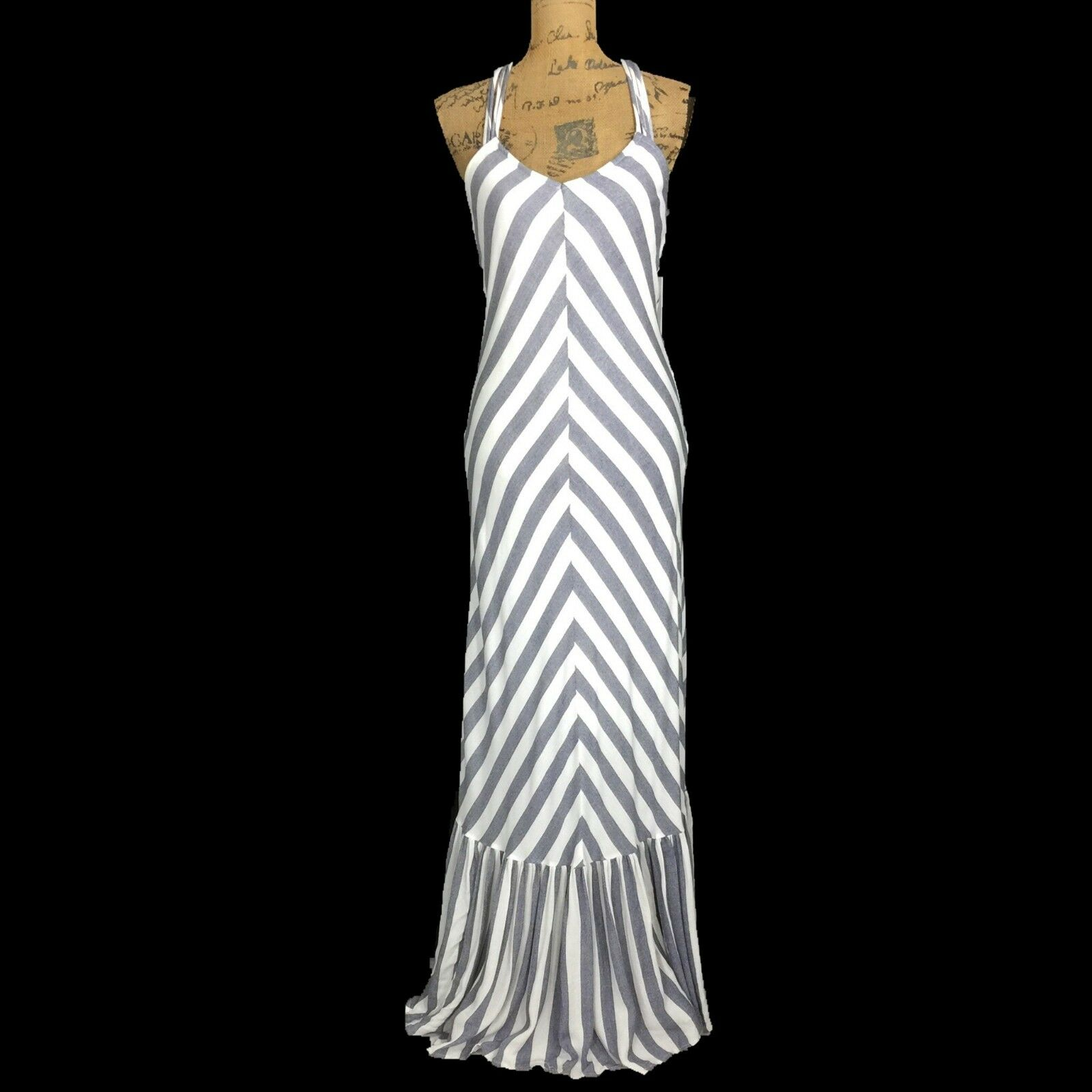 NEW Long Maxi Dress XS White bluee Chevron Ruffle Hem Strappy THE LINE OF STYLE