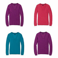 TOMMY HILFIGER WOMEN V-NECK SWEATERS SOLID Size XS S NWT purple COTTON NEW $64