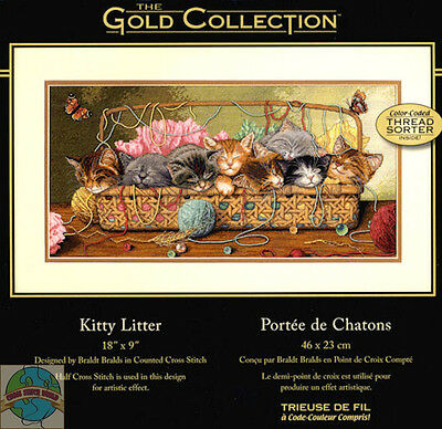 Cross Stitch Kit ~ Gold Collection Kitty Litter Kittens in Sewing Basket #35184