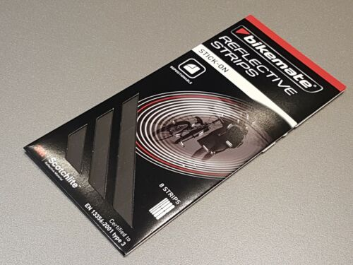 New. Bikemate Reflective Strips 8 Repositionable Strips Stick-On Grey