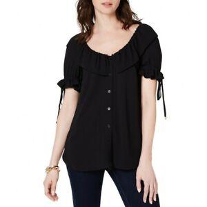 MICHAEL-KORS-NEW-Women-039-s-Scoop-neck-Flounce-Blouse-Shirt-Top-TEDO
