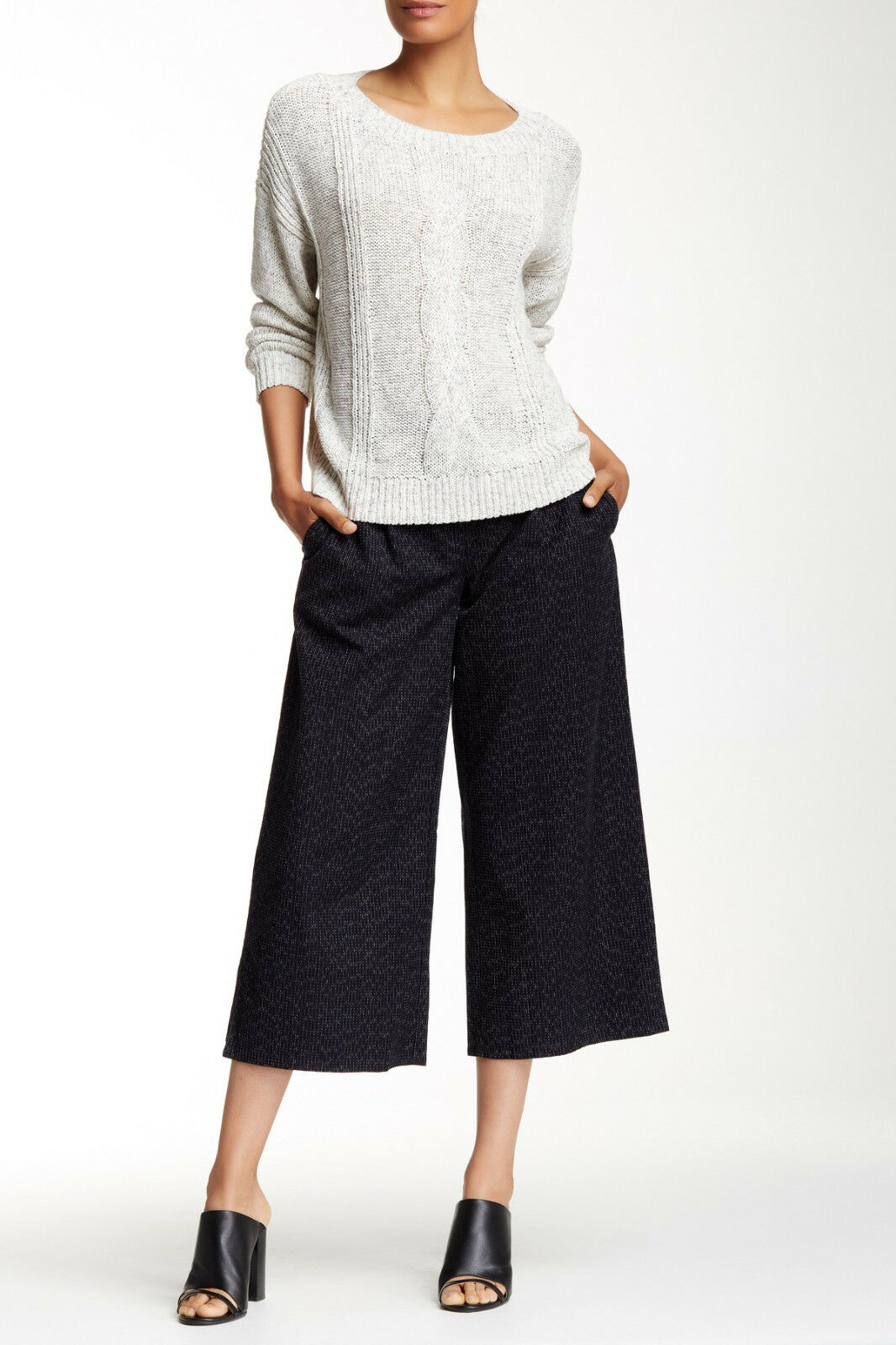 198 NWT Eileen Fisher 100% Organic Cotton Wide Leg Cropped Pant Größe S
