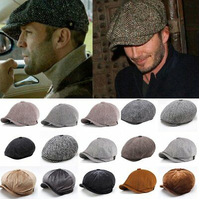 e276374e8eca7f Men Wool Herringbone Tweed Gatsby Newsboy Cap Ivy Hat Golf Driving Flat  Cabbie