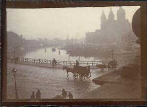 Pays-Bas-Amsterdam-Basilique-Saint-Nicolas-et-le-canal-ca-1900-Vintage-citra