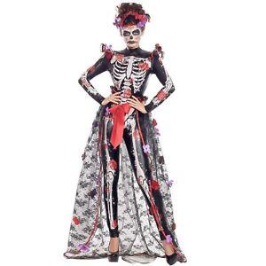 Adult Day Of Dead Dia De Los Muertos Womens Sugar Skull Halloween Costume S-XL