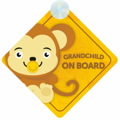 Animal Themed Grandchild on Board Car Sign for Grandson//Granddaughter Choice