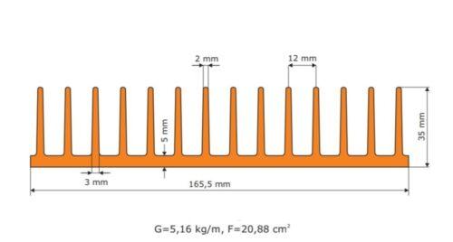 led cree Citizen Grow ACQUARIO RADIATORE Filamento corpo di raffreddamento 165x35 100mm aluminum