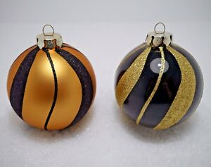 Christbaumkugeln Schwarz Gold.Details Zu 2 Weihnachtskugeln O 10cm Gold Schwarz Glas Christbaumkugeln Tannenbaumkugeln