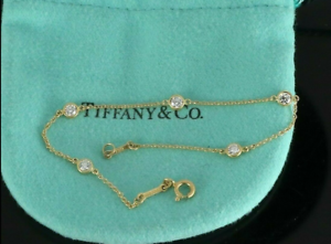 3000-TIFFANY-amp-Co-New-18K-Yellow-Gold-35ct-Round-Diamonds-By-The-Yard-Bracelet