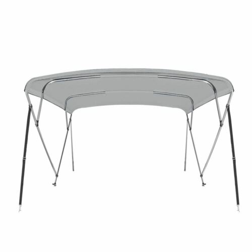 "84/"" W 8 ft Long Gray New Pontoon  Bimini Top Boat Cover 4 Bow 54/"" H 79/"""