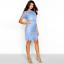 16 Mini abito alta Chi a con pizzo Broderie London scollo Anglasie blu in manica ZxA7HFq