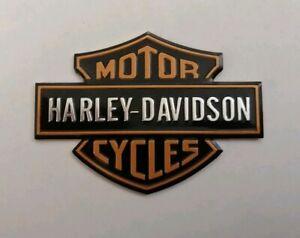 HARLEY-DAVIDSON-3D-METAL-BADGE-STICKER-GRAPHIC-DECAL-LOGO-BLACK-ORANGE-ADHESIVE