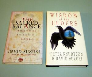 2-Books-Signed-by-David-Suzuki-WISDOM-NATIVE-INDIAN-ELDERS-EARTH-SACRED-BALANCE