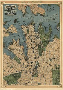 Old Map of Sydney Australia in 1922 City Plan repro vintage