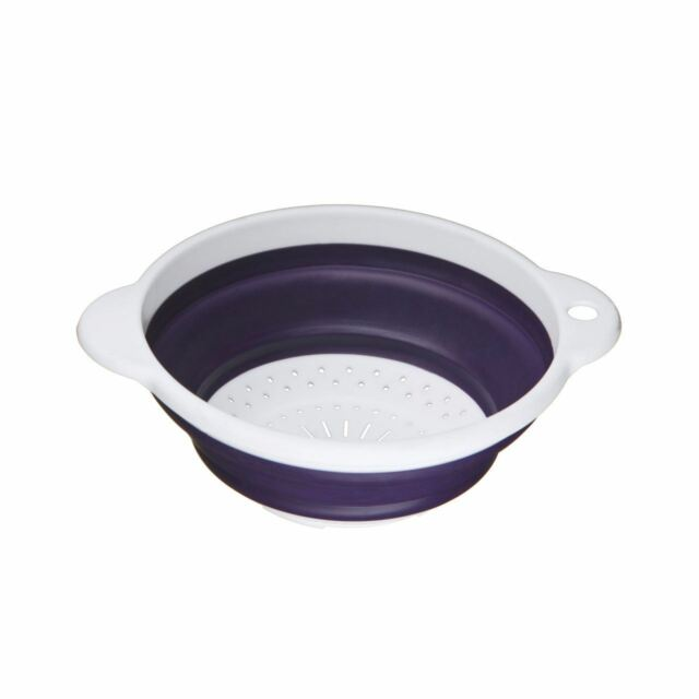 Zing Colander, Purple TPR/White PP, Collapsible/Double Handle