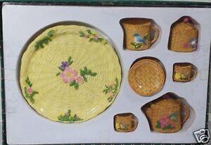 Mini-Garden-Tea-Party-Set-Birds-Flowers-Basket-8pcs-Collectible-8-Resin-Vintage