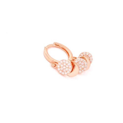 Silver Huggie Earrings Cubic Zirconia Gemstone 14K Rose Gold Plated with Sequins