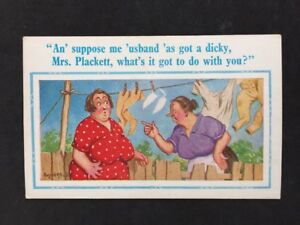 Vintage-PC-Comic-Artist-Signed-Donald-McGill-A410-D-Constance-034-Mrs-Plackett-034