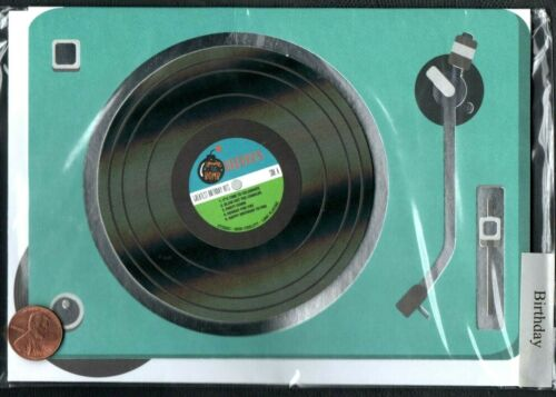 Birthday 3-D Record Player Teal Needle SILVER SHINE Birthday Greeting Card NEW