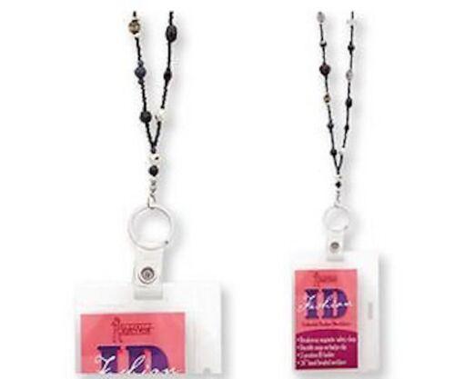 "Fashion Id 36/"" Beaded Badge Holder Magnetic Breakaway Neck Many Variations"