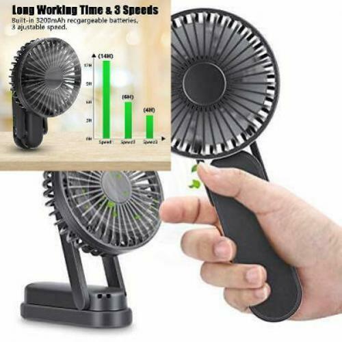 Magicfun Hand Held Fan Desk top Portable Folding Mini USB Black