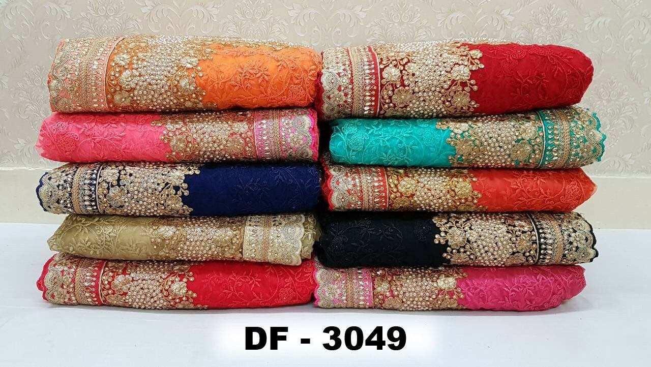 Indian Fancy Design Embroidery Work Saree Bridal Wedding Ethnic color Sari SF