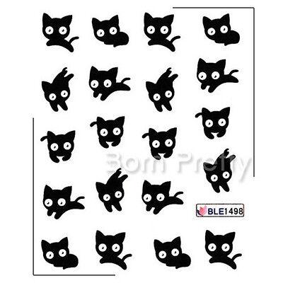 Nail Art Water Decals Transfers Sticker Mini Black Cat Pattern #1sheet