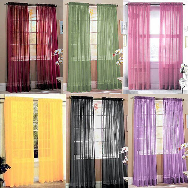 New Style Door Window Curtain Drape Panel or Scarf Assorted Scarf Sheer Voile